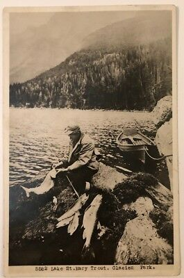 Lake St Mary Trout Glacier Park Montana RPPC CYKO Kiser Great Northern Ry