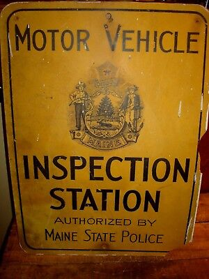 Vintage Maine State Inspection Station Sign Maine State Police Authorized