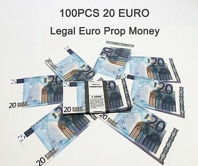 20 Euro, prop, novelty, fake, play money, single sided, 100PCS Size:75%