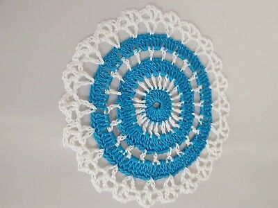 Parakeet  Blue in White Bumblebee doily Approximately 5 Inches.