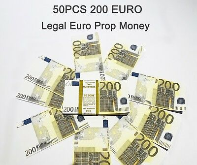 200 Euro, prop money, novelty, fake, play money, single sided, 50PCS Size:75%