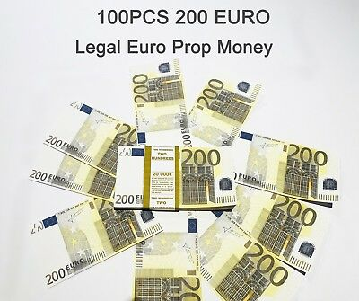 200 Euro, prop money, novelty, fake, play money, single sided, 100PCS Size:75%