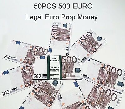 500 Euro, prop money, novelty, fake, play money, single sided, 50PCS Size:75%