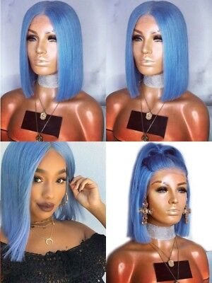 "14"" Synthetic Hair Baby Hair Fashion Short Straight Light Blue Lace Front Wig"