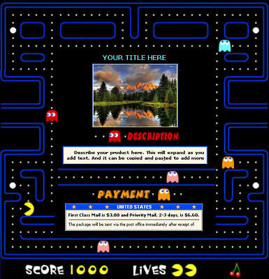 AUCTION TEMPLATE Pac Man Frame Border Design - FREE Shipping