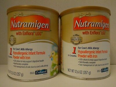 Lot of 2 Brand New Cans Of Nutramigen With Enflora LGG 12.6oz Exp Nov 1,2019