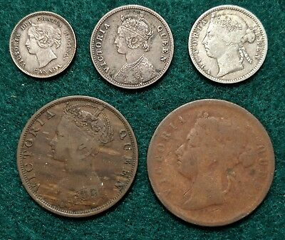 Lot of Queen Victoria Copper & Silver Coins India Canada Hong Kong Straits