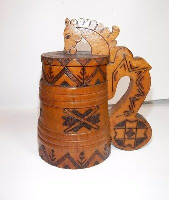 Vintage Handmade Wooden Stein Mug with GORGEOUS Horse Design! SO VERY COOL!