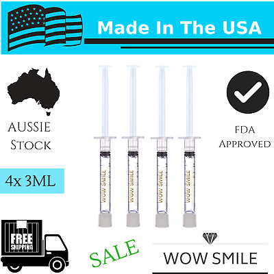 Teeth Whitening Gel Wow Smile Hydrogen Peroxide 6% Hp 4X3Ml Refill Syringes