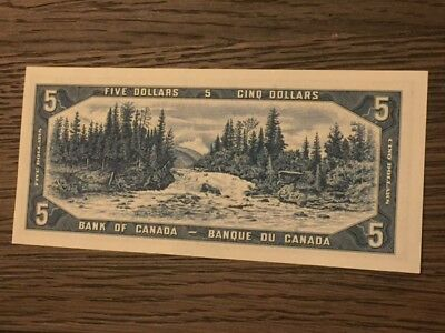 Gem ----- Unc ----1954---- Canada $5 Dollars Bank Note  With Free Shipping