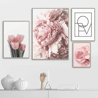 Pink Tulips Rose Flower Wall Art Painting Nordic Minimalism Posters Pictures