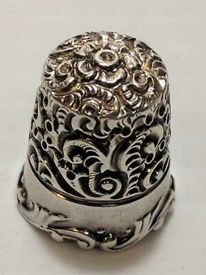 RARE!!! 1912 KETCHAM & McDOUGALL FILLAGREE RIM FLOWER STERLING SILVER THIMBLE