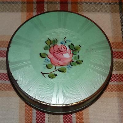 Vintage Deco Vanity Compact Tin with Green Guiloche Enamel and Hand Painted Rose