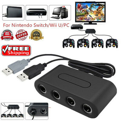 US GameCube Controller Adapter 4 Port for nintendo Switch Wii U&PC USB NEW TURBO