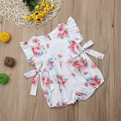 Newborn Baby Girl Romper Flower Ruffle Bodysuit Jumpsuit Outfit Clothes 0-18M