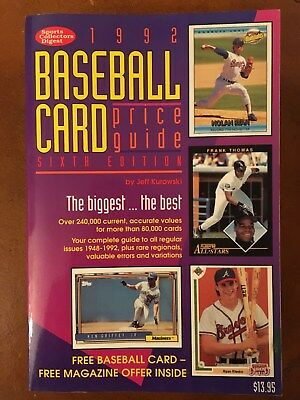 Sports Collection Digest Baseball Card Price Guide 1992 60th Edition VG Cond