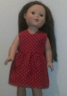"18"" doll clothes-fit American Girl My Life Journey-Dress-Red White Dots"