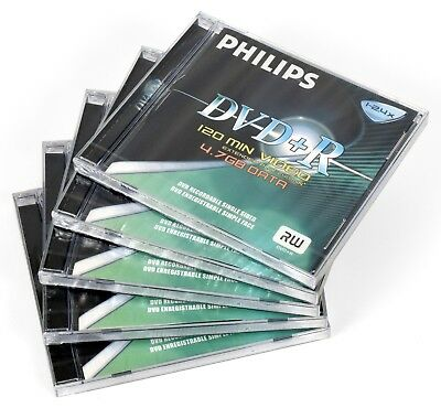 *NEW* 5 x Philips DVD+R Recordable DVD w/ Full-Size Jewel Cases - 4.7GB *NOS*