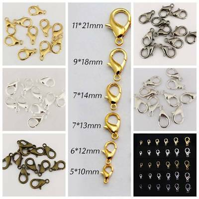 10/12/14/16/18/21mm Jewelry Making Finding Metal Lobster Claw Clasps Wholesale