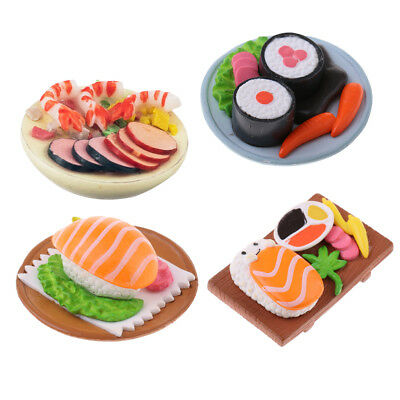 Simulation Food Model Roll Sushi for 1/12 Dollhouse Kitchen Ornament