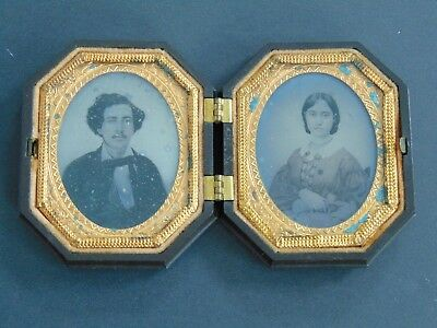 ANTIQUE AMBROTYPE PHOTOGRAPH  SHAKER COUPLE CANTERBURY N.H. in GUTTA PERCHA CASE