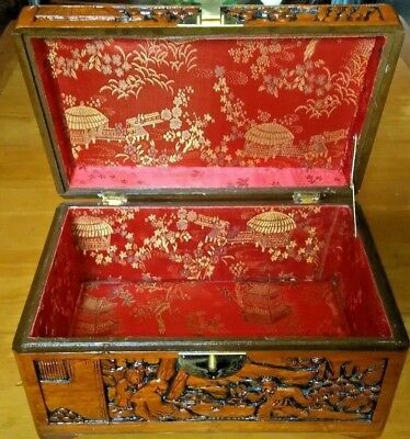 Vintage Hand Carved Chinese Camphor Wood box lined