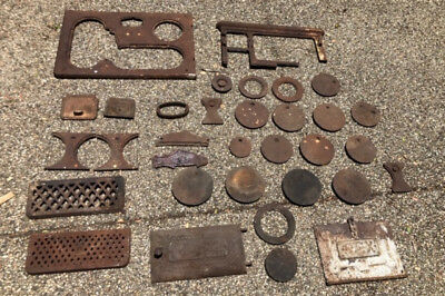 Antique - Old Metal Cast Iron Woodstove Parts