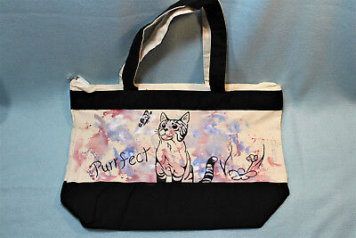 NEW OOAK Hand-painted Reusable Canvas Tote Bag - cat