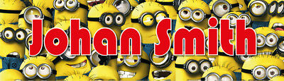 Personalised Minions Waterproof Name Labels School Books Lunch Box Stationary
