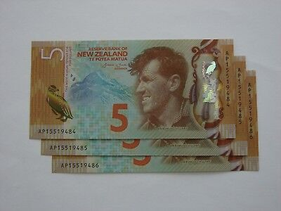 3 Consecutive 5-Dollar New Zealand Banknotes Penguin/Edmund Hillary UNC