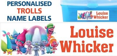 Personalised Trolls Waterproof Name Labels School Books Lunch Box Stationary