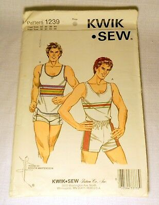 Vintage 80s Sewing Pattern Kwik Sew 1239 Tank Shorts Mens Athletic Sport Uncut