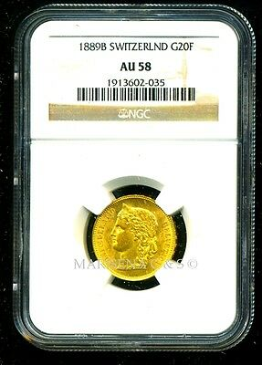 Switzerland 1889 B Gold Coin 20 Francs * Ngc Certified Genuine Au 58 * Brilliant