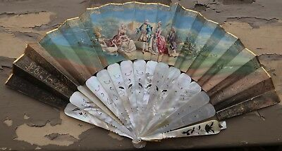 Antique French Carved Mother of Pearl Hand Painted Folding Fan