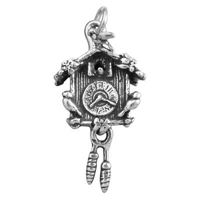 Cuckoo Clock Charm Sterling Silver .925 Moves Moving Pendulum