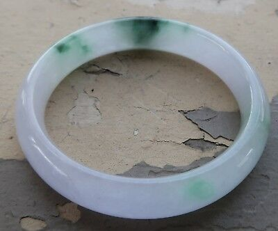 "Antique Chinese Mutton Fat White and Dark Green Jade Bangle Bracelet 3"" Diameter"