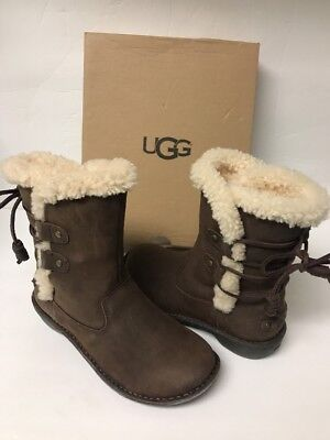 e4ff62ca581 UGG WOMEN'S AKADIA Winter Lace Up Boots Leather Shearling Black and ...