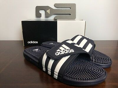 add896ff56b5 ADIDAS ADISSAGE SLIDES Classic Mens Black White 078261 Size 10 Flip ...