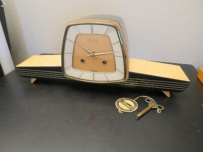 Vintage Mid Century Modern Franz Hermle Chiming Mantle Clock Germany w/ Key Wrkg