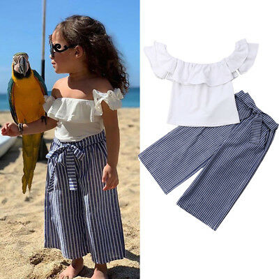 USA 2PCS Newborn Toddler Baby Girl Clothes Off Shoulder Tops+Stripe Pants Outfit