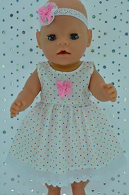"Play n Wear Doll Clothes To Fit 17"" Baby Born  MULTI POLKA DOT DRESS~HEADBAND"