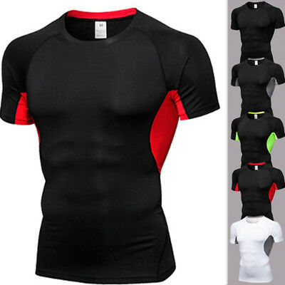 Men Compression Armour Base Layer Top Tee Short Sleeve Running Gym Sport T Shirt
