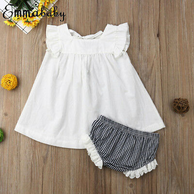 US Cute Newborn Baby Girl Outfit Set Clothes Princess Dress + Pants Plaid Shorts