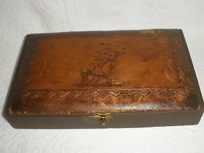 VINTAGE LEATHER BOX Ship Top Good Condition
