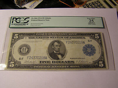 FR 866 1914 $5 Federal Reserve Note PCGS Very Fine 25