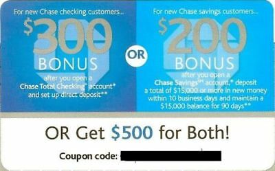 """CHASE $500 - $300 Checking+$200 Savings Bonus Coupon """"GET YOUR CODE IN FEW HOURS"""