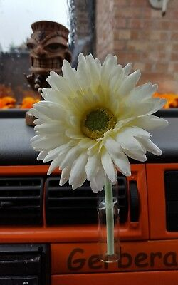 VW Car Vent Vase and ivory Gerbera Flower, Car Beetle T2 T25 T4 T5  Van