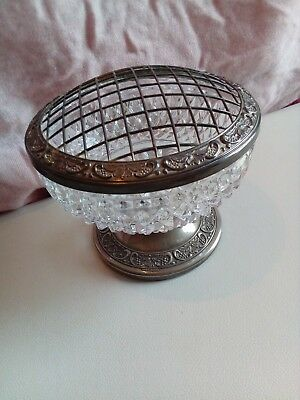 Grenadier cut glass and silver plated rose bowl