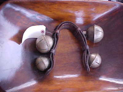 Antique Primitive Equestrian Horse Brass Hip Sleigh Bells Leather Country Art