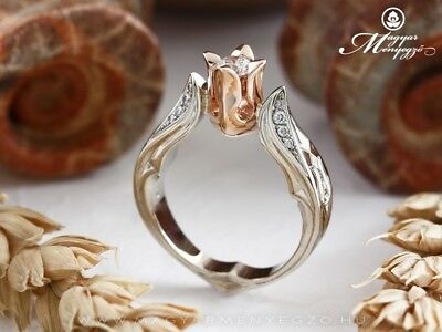 Women's 925 Silver Silver & Rose Gold White Sapphire Flower Wedding Jewelry Ring